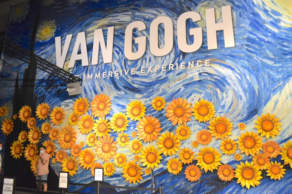"""Display in the ticket hall of """"Van Gogh: The Immersive Experience."""" Photo by Ben Davis."""