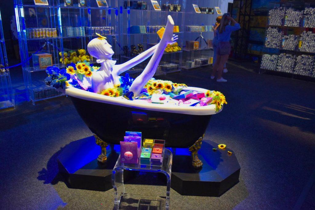 "A display in the ""Immersive Van Gogh"" gift shop. Photo by Ben Davis."
