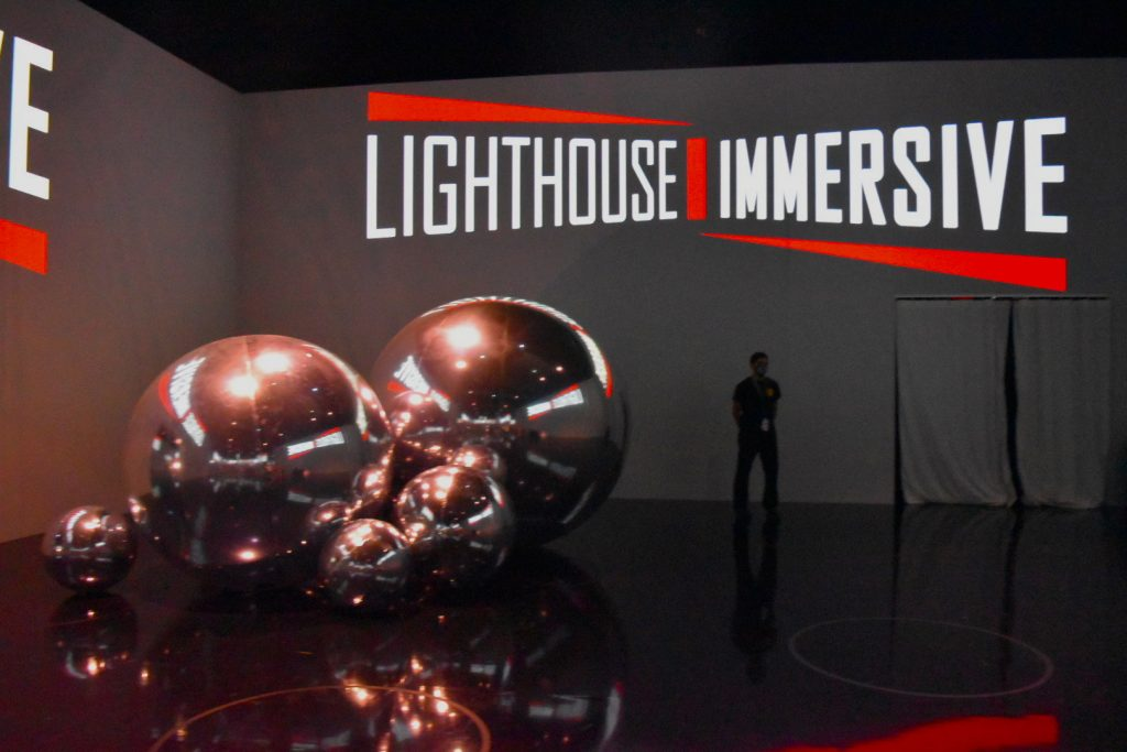 """A credit for Lighthouse Immersive, the company behind """"Immersive Van Gogh,"""" within the experience. Photo by Ben Davis."""