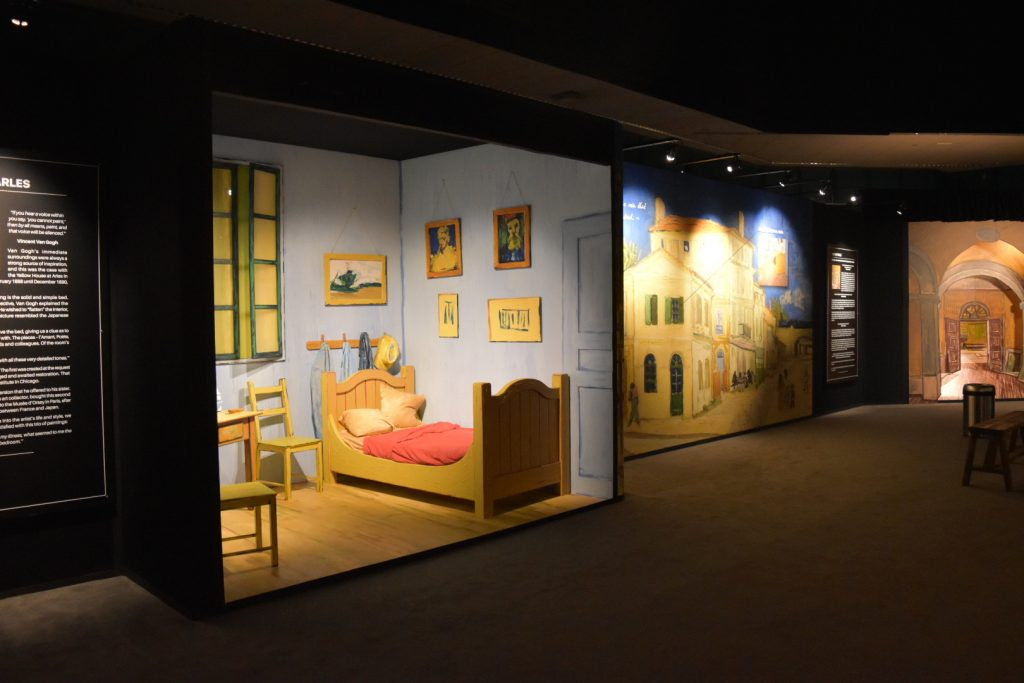 """A 3D recreation of <em>Bedroom in Arles</em> at """"Van Gogh: The Immersive Experience."""" Photo by Ben Davis."""