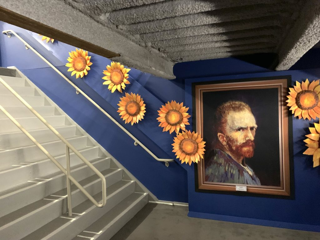 """Stairway leading to """"Van Gogh: The Immersive Experience."""" Photo by Ben Davis."""