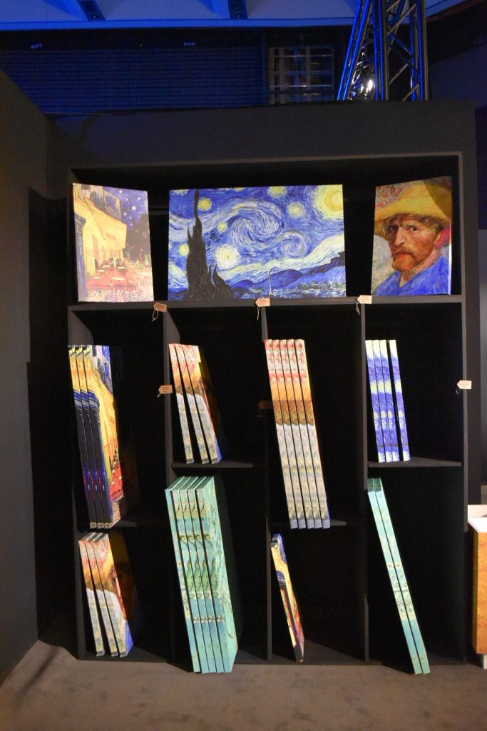 """Canvasses for sale in the gift shop of """"Van Gogh: The Immersive Experience."""" Photo by Ben Davis."""