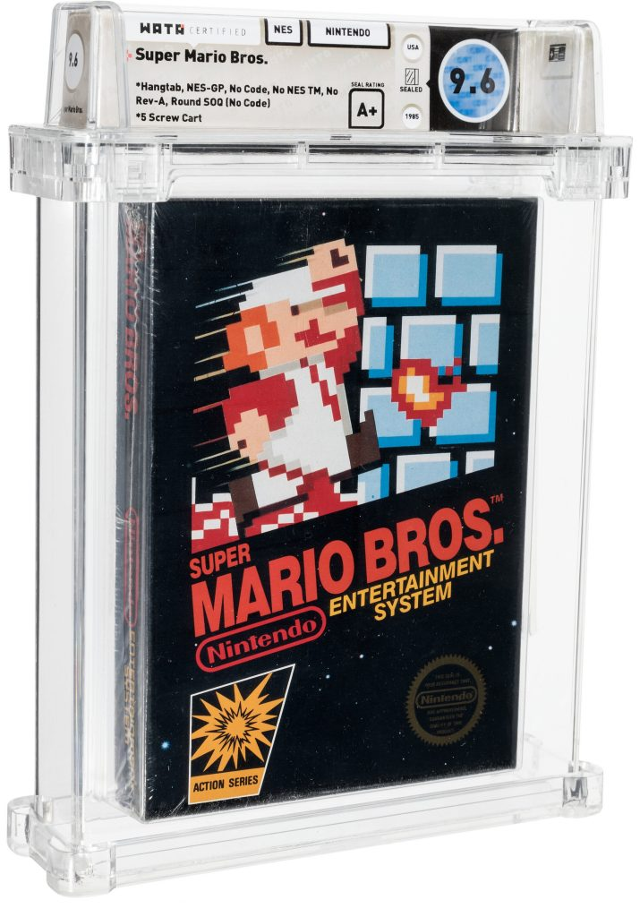 This sealed copy of the Nintendo's original <em>Super Mario Bros.</em> game from 1985 set a world record for a video game at auction when it sold for $660,000 on April 2, 2021. Photo courtesy of Heritage Auctions, Dallas.