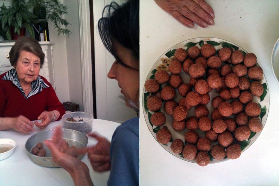 Auntie Nora teaching the artist to make <Em>kufteli yaghene</em> soup. Photo courtesy Nina Katchadourian.