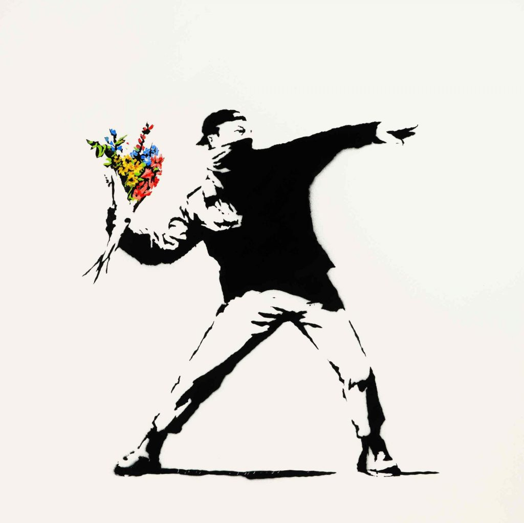 Banksy, Love is in the Air (2005). Image courtesy of Sotheby's.
