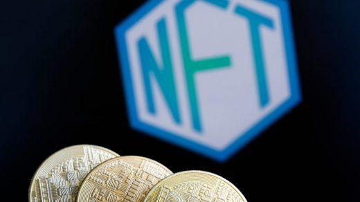 Representation of cryptocurrencies and non-fungible token. (Photo by Jakub Porzycki/NurPhoto via Getty Images)