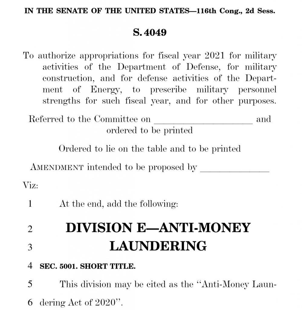Screenshot of the AML Act of 2020.