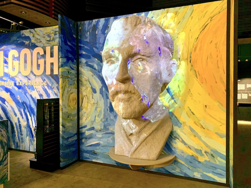"""A giant sculpture of Van Gogh's head greets guests to """"Van Gogh: The Immersive Experience."""" Photo by Ben Davis."""