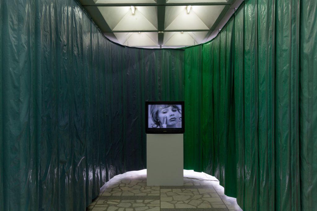 "Natalia LL at the Contemporary Art Center, Vilnius, for the Baltic Triennial 14 ""The Endless Frontier."" Photo: Ugnius Gelguda."