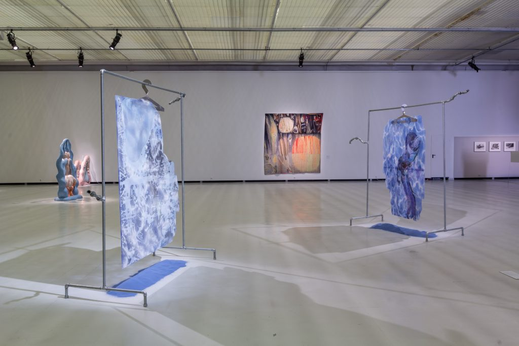 "Works by Flaka Haliti, Zsofia Keresztes, Czebatul, and Danutė-Kvietkevičiūtė at the Contemporary Art Center, Vilnius, for the Baltic Triennial 14 ""The Endless Frontier."" Photo: Ugnius Gelguda."