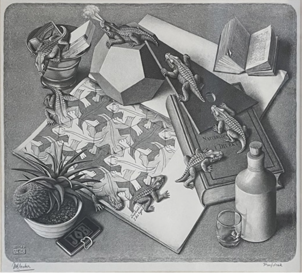 M. C. Escher, Reptiles #327 (1943). Courtesy of Walker Fine Art.