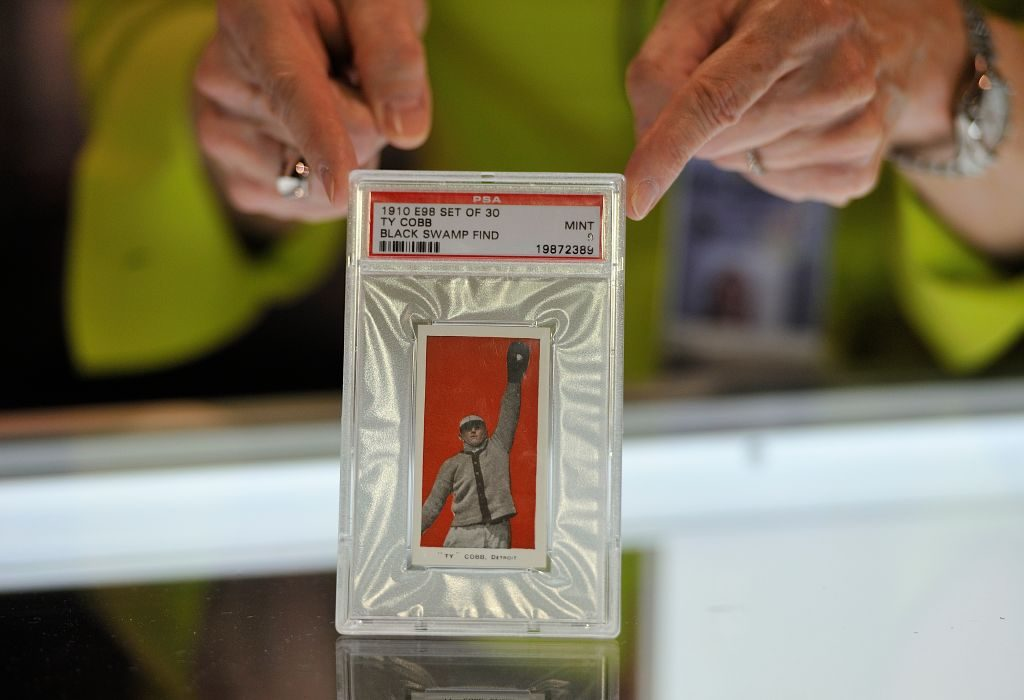 A 1910 Ty Cobb baseball card.(Photo by Jeff Gritchen/Digital First Media/Orange County Register via Getty Images)