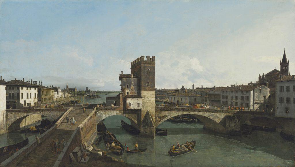 Bernardo Bellotto, <i>View of Verona with the Ponte delle Navi</i>. Courtesy Christie's Images Ltd. 2021.