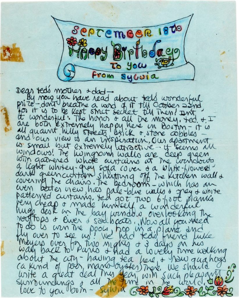 A letter Sylvia Plath wrote to Edith & WIlliam Hughes. Courtesy of Sotheby's.