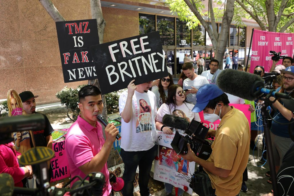 #FreeBritney activists protest at Los Angeles Grand Park during a conservatorship hearing for Britney Spears on June 23, 2021 in Los Angeles. (Photo by Rich Fury/Getty Images)