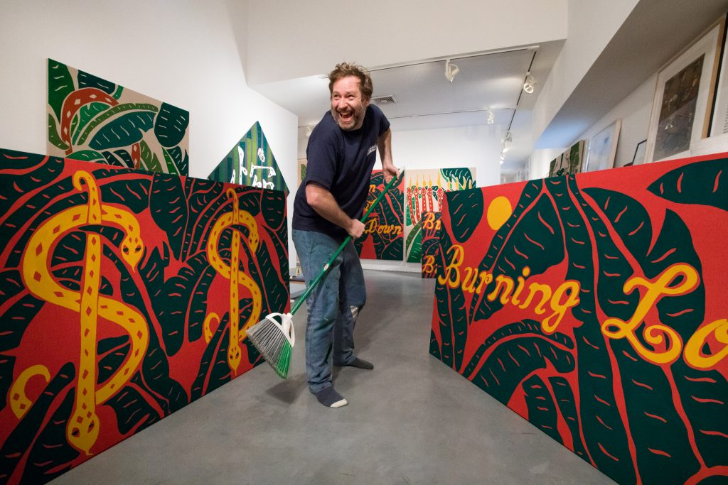 Mesler with his new paintings, 2020. Photo: Jenny Gorman Photography.