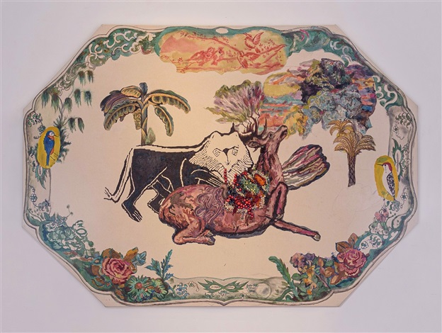 Ken Gun Min, Green Plate (Lion and Deer-prayer for peace of mind) (2020). Courtesy of K Contemporary.