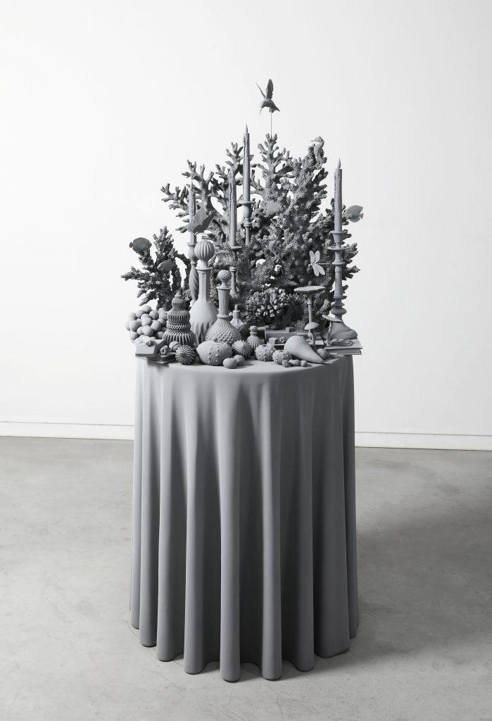Hans Op de Beeck, Vanitas Table (the coral piece) (2021). Courtesy of Galleria Continua.