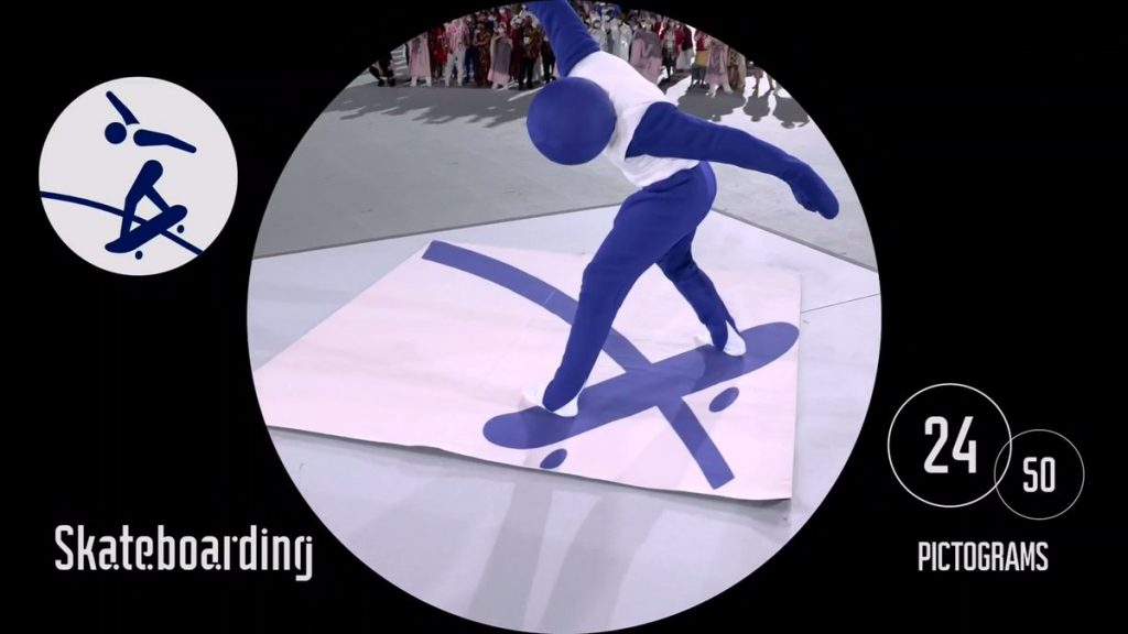 The skateboarding pictogram designed by graphic designer Masaaki Hiromura as acted out during the opening ceremonies. Photo courtesy of the International Olympic Committee.