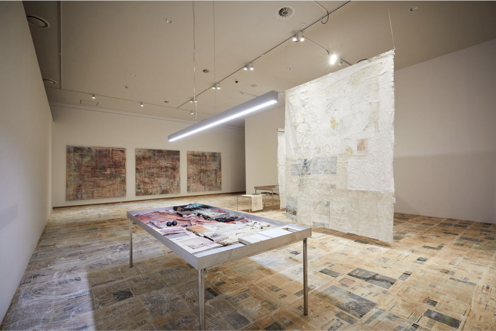 """Installation view of El-Sayegh's """"What's it called? Nothing, I just collect stuff, I'm a yard man"""" (2020) at the Busan Biennale in 2020. Photo courtesy Lehmann Maupin."""
