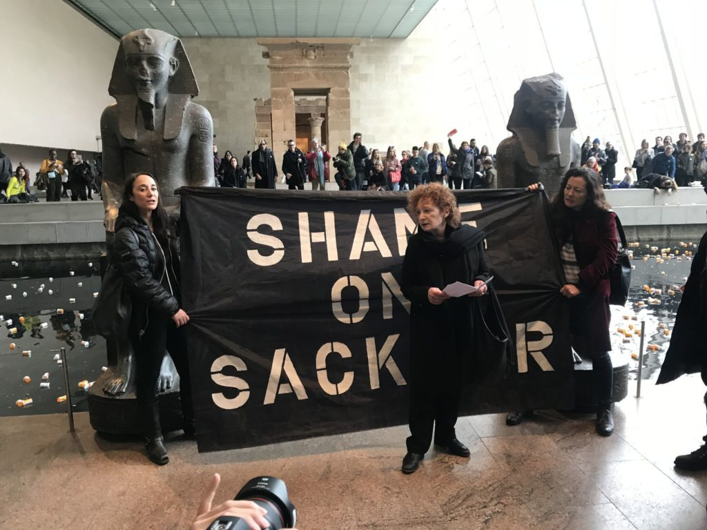 Nan Goldin Speaking at the protest at the Met. Photo: Michael Quinn.