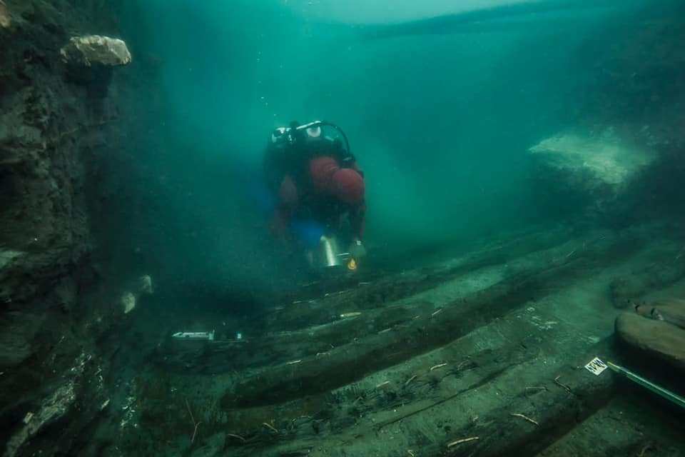 Remains of an ancient military vessel discovered in the Mediterranean sunken city of Thonis-Heracleion off the coast of Egypt. Photo by the Egyptian Ministry of Antiquities.