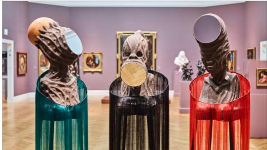 Wangechi Mutu, <i>Mirror Faced I; Mirror Faced II; <i>and </i> <i>Mirror Faced III</i> all (2020). © Wangechi Mutu, courtesy the artist and Gladstone Gallery.