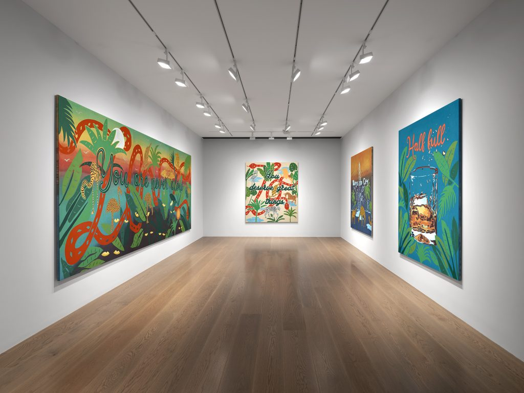 """Installation view, """"Joel Mesler: In the Beginning"""" at Levy Gorvy. Photo: Kitmin Lee, courtesy of Levy Gorvy."""