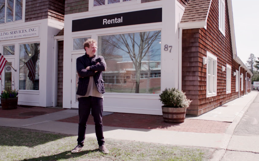 The artist and dealer Joel Mesler outside his new East Hampton incarnation of Rental Gallery.
