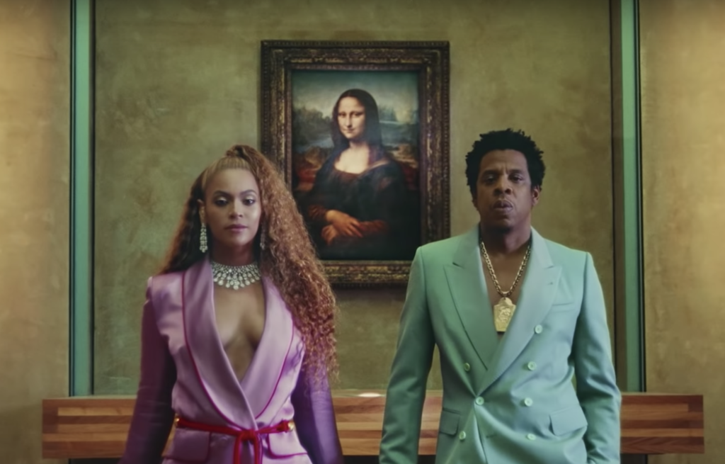 """A still from Jay-Z and Beyoncé's video for """"Apeshit."""""""