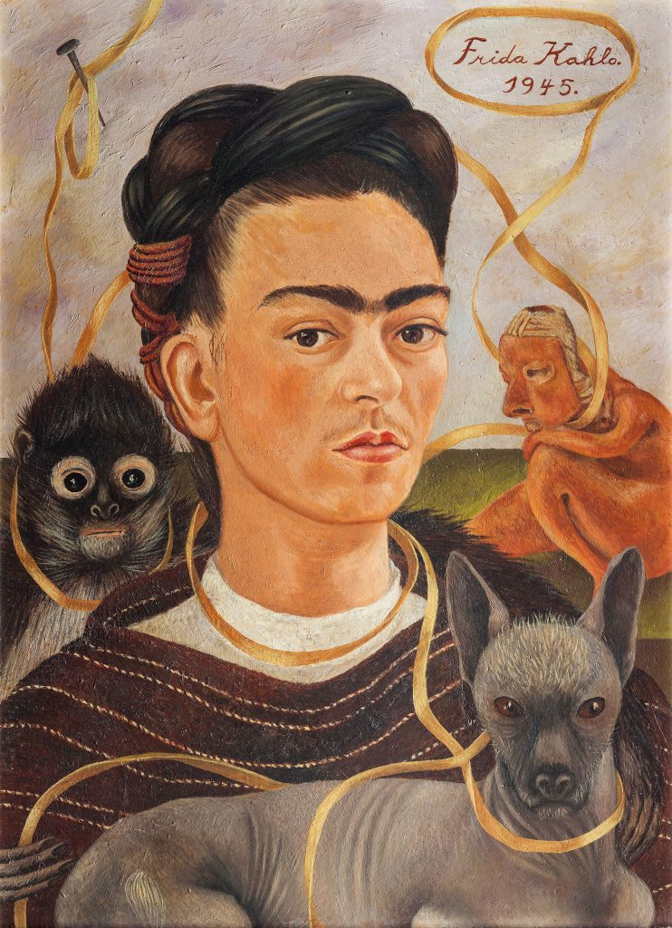 Frida Kahlo, <em>Self-portrait With Small Monkey</eM> (1945). Photo by akg-images, Museo Dolores Olmedo, Mexico City, Xochimilco, ©Banco de Mexico Diego Rivera Frida Kahlo Museums Trust/VG Bild-Kunst, Bonn 2021; reproduction authorized by the Instituto Nacional de Bellas Artes y Literatura, 2021.