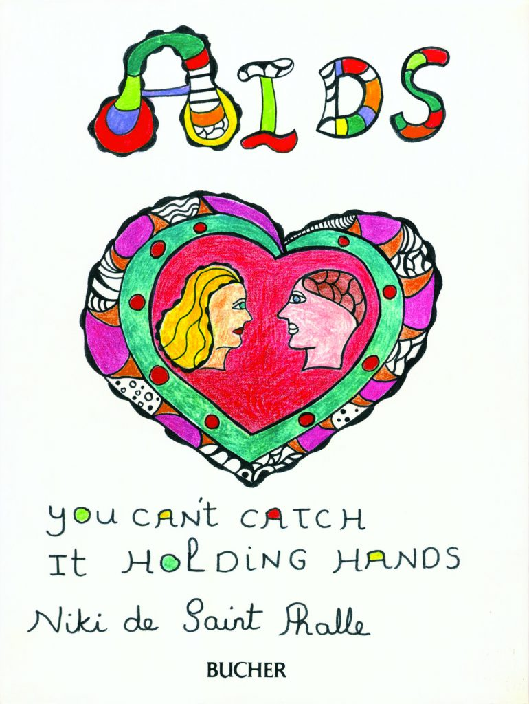 Niki de Saint Phalle. Cover of AIDS, You Can't Catch It Holding Hands. 1986. Book; published by Bucher. Photo: NCAF Archives. © 2021 Niki Charitable Art Foundation