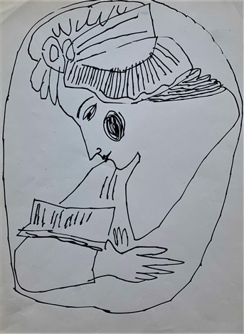 Andy Warhol, Untitled (Woman Reading Letters) (1955). Courtesy of Long-Sharp Gallery.