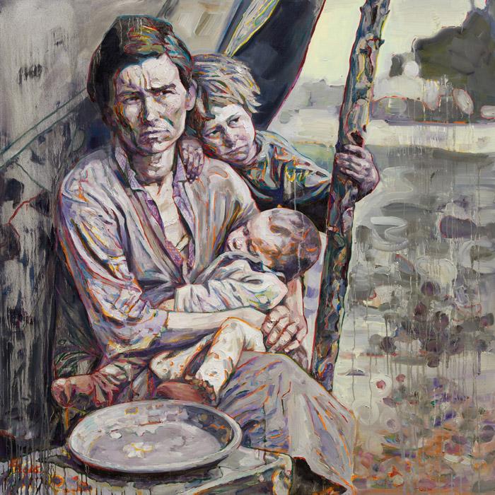 Hung Liu, <em>Migrant Mother: Mealtime</em> (2016), based on a Depression-era photograph by Dorothea Lange. Collection of Michael Klein, ©Hung Liu.