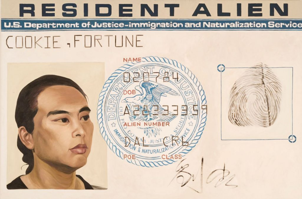 Hung Liu, Resident Alien (1988). Collection of the San Jose Museum of Art, gift of the Lipman Family Foundation, ©Hung Liu.