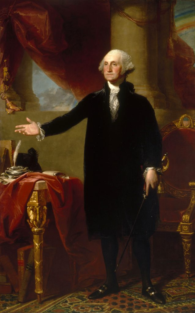 """Gilbert Stuart, Portrait of George Washington known at the """"Lansdowne"""" portrait (1796). Collection of the National Portrait Gallery."""