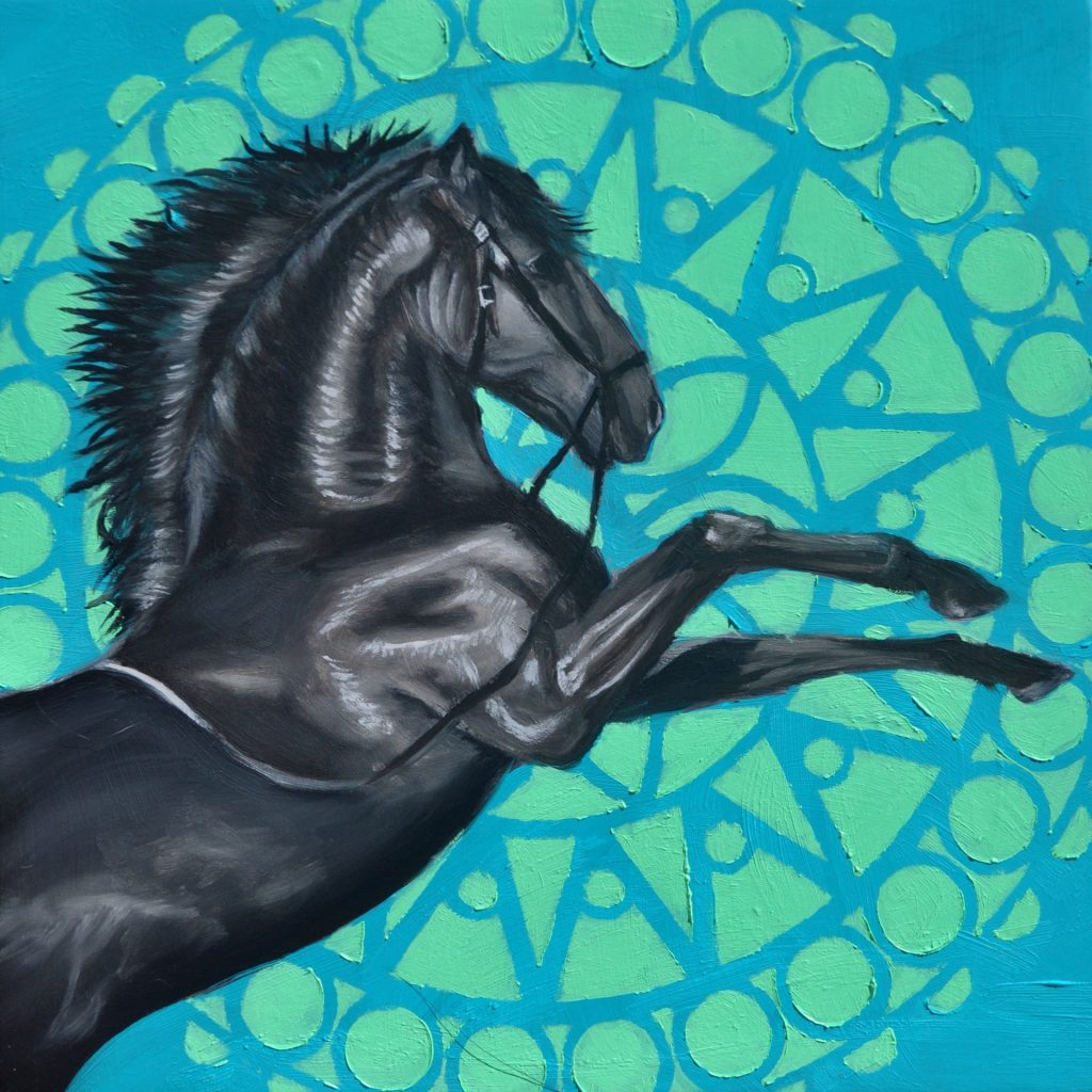Robin Hextrum, Black Horse with Mandala (2021). Courtesy of Abend Gallery.