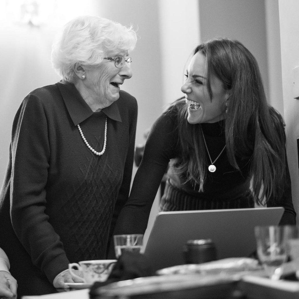 Kate Middleton with Holocaust survivor Yvonne Bernstein during a portrait session at Kensington Palace. Photo courtesy of Kensington Palace.