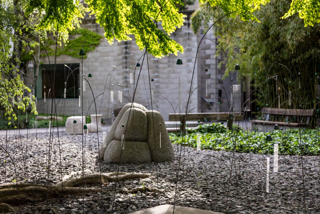 """""""Christian Boltanski, Animitas"""" at the Isamu Noguchi Foundation and Garden Museum. Photo by Nicholas Knight, courtesy of the Isamu Noguchi Foundation and Garden Museum."""