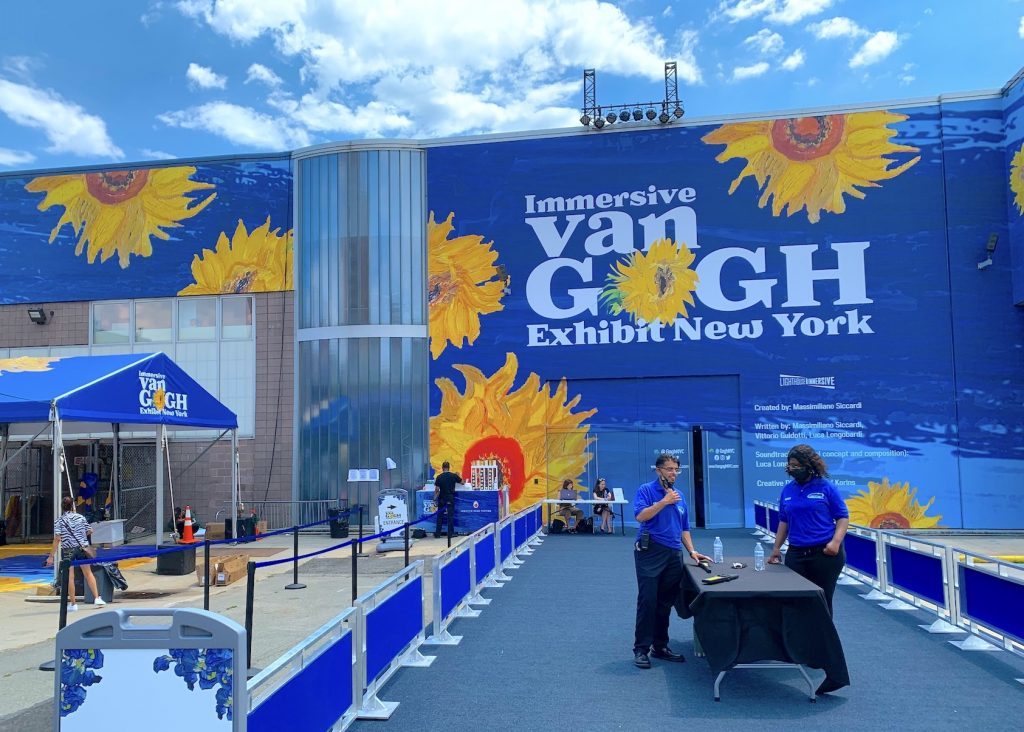 Exterior of Immersive Van Gogh at Pier 26. Photo by Ben Davis.