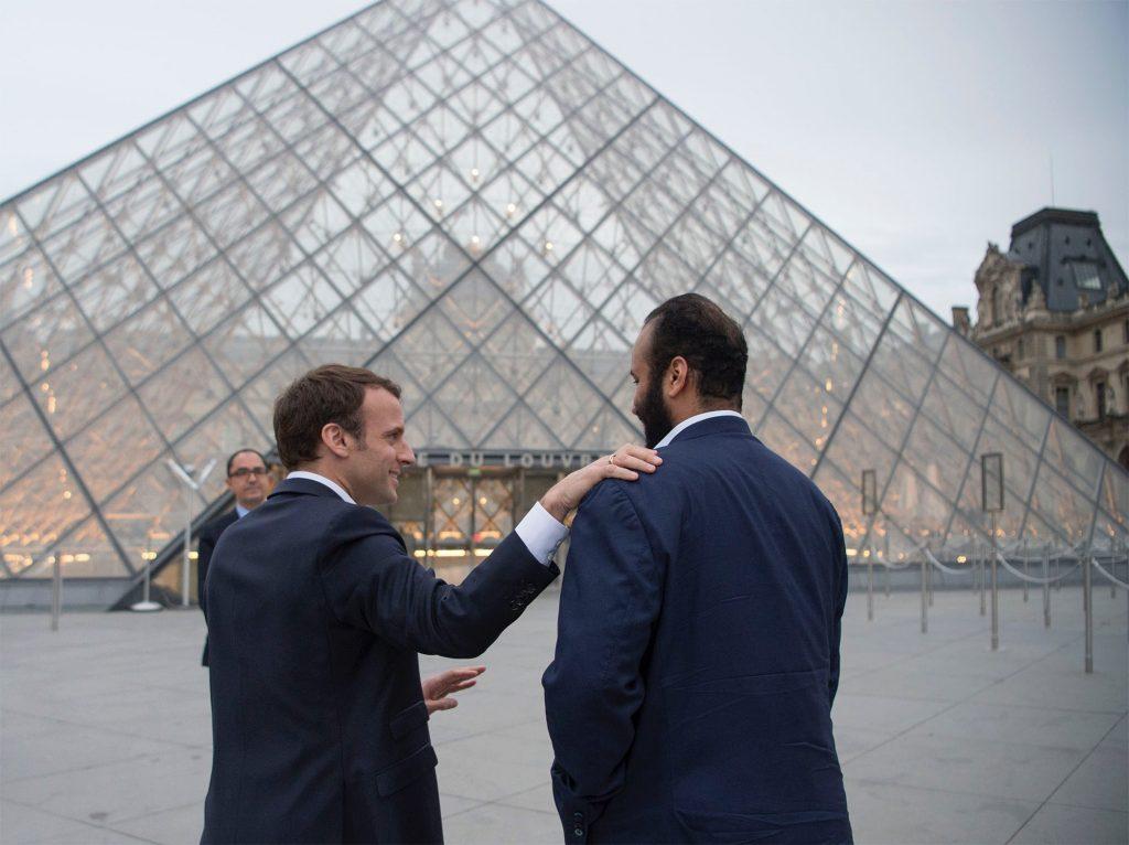 Crown Prince of Saudi Arabia Mohammed bin Salman Al Saud and French President Emmanuel Macron at the Louvre Museum in Paris, France in 2018. Photo by Bandar Algaloud/Saudi Kingdom Council/Handout/Anadolu Agency/Getty Images.