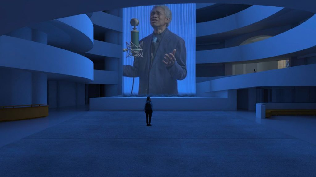 """Installation view, """"Wu Tsang: Anthem"""" at the Guggenheim Museum. Courtesy of the Guggenheim."""