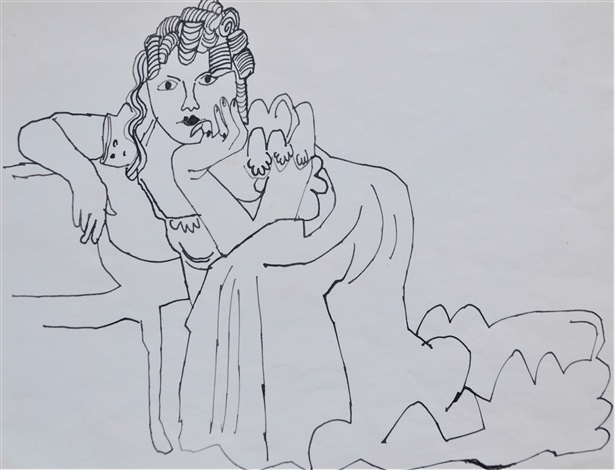 Andy Warhol, Untitled (Female Figure Seated) (1954). Courtesy of Long-Sharp Gallery.
