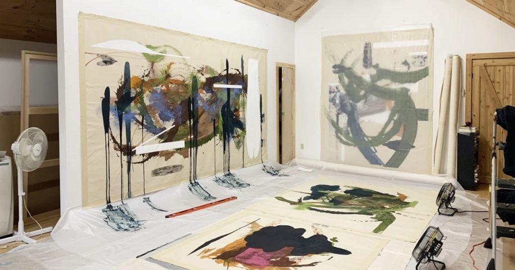 Elizabeth Neel's Vermont studio. Photo courtesy of Salon 94, New York.
