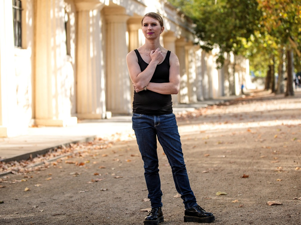 Former American soldier and whistleblower Chelsea Manning poses ahead of her talk at the Institute Of Contemporary Arts London in 2018. Photo by Jack Taylor, Getty Images.