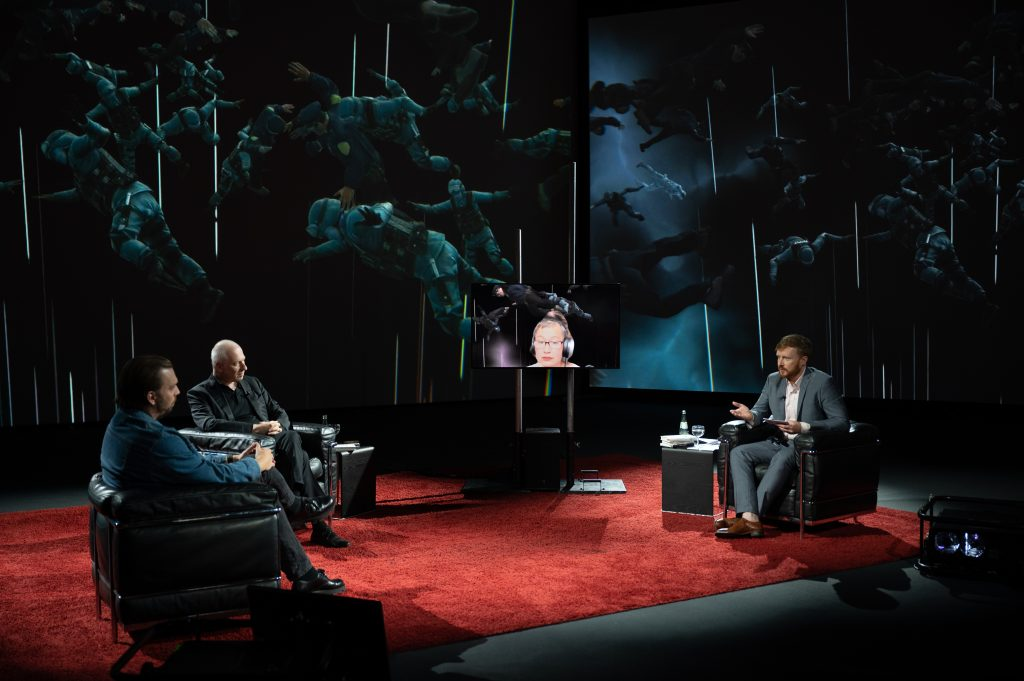 Hito Steyerl speaking with Martti Kalliala from Amnesia Scanner and Joseph Vogel about crypto and art at Studio Bonn, hosted by Kolja Reichert.