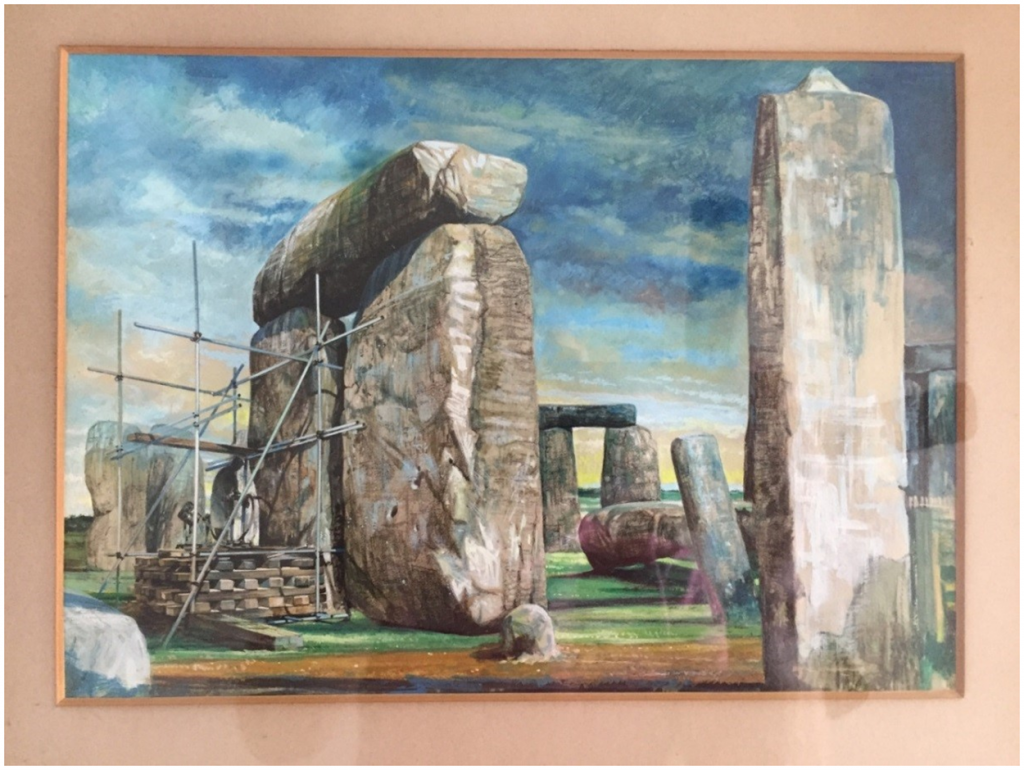 L.M. Van Moppes (Diamond Tools) Ltd., depiction of coring operations on Stone 58 of Stonehenge in 1958. Courtesy of Lewis Phillips, Creative Commons Attribution-Share Alike 4.0 license.