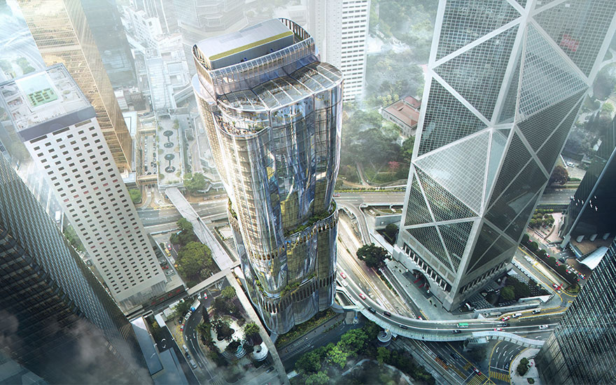 The Henderson, Hong Kong by Zaha Hadid Architects for Henderson Land. Rendering by Arqui9, courtesy of Christie's.