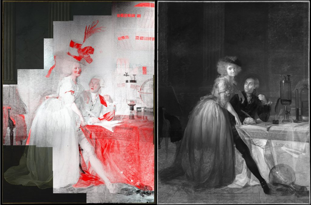 Left: a map showing the combined elemental distribution of lead and mercury in David's painting. Right: an infrared reflectogram of the canvas.