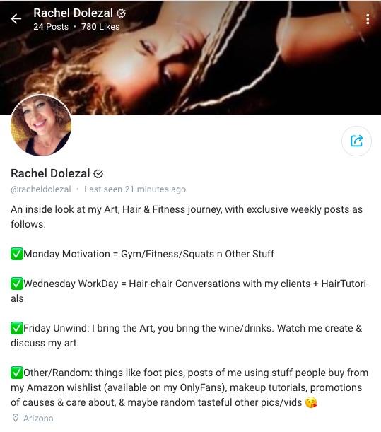 Screenshot of Rachel Dolezal's OnlyFans page.